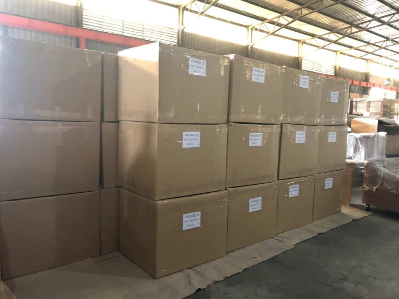 Hàng hóa gửi đi Campuchia từ TP.HCM tại kho Mekong Logistics