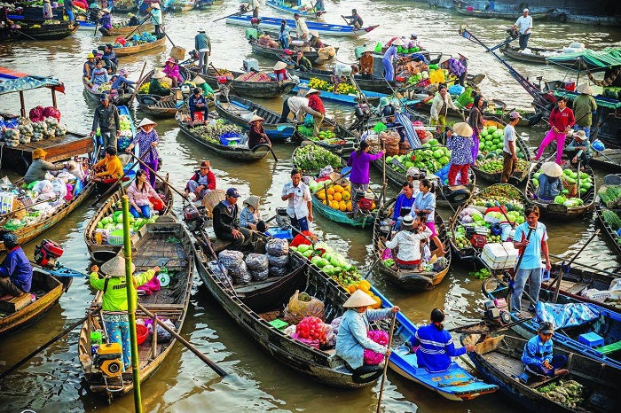 Western floating market early morning was crowded with boats